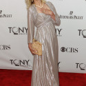 Lumley, nominated for Best Performance by an Actress in a Featured Role in a Play, poses during the Tony Awards ceremony in New York